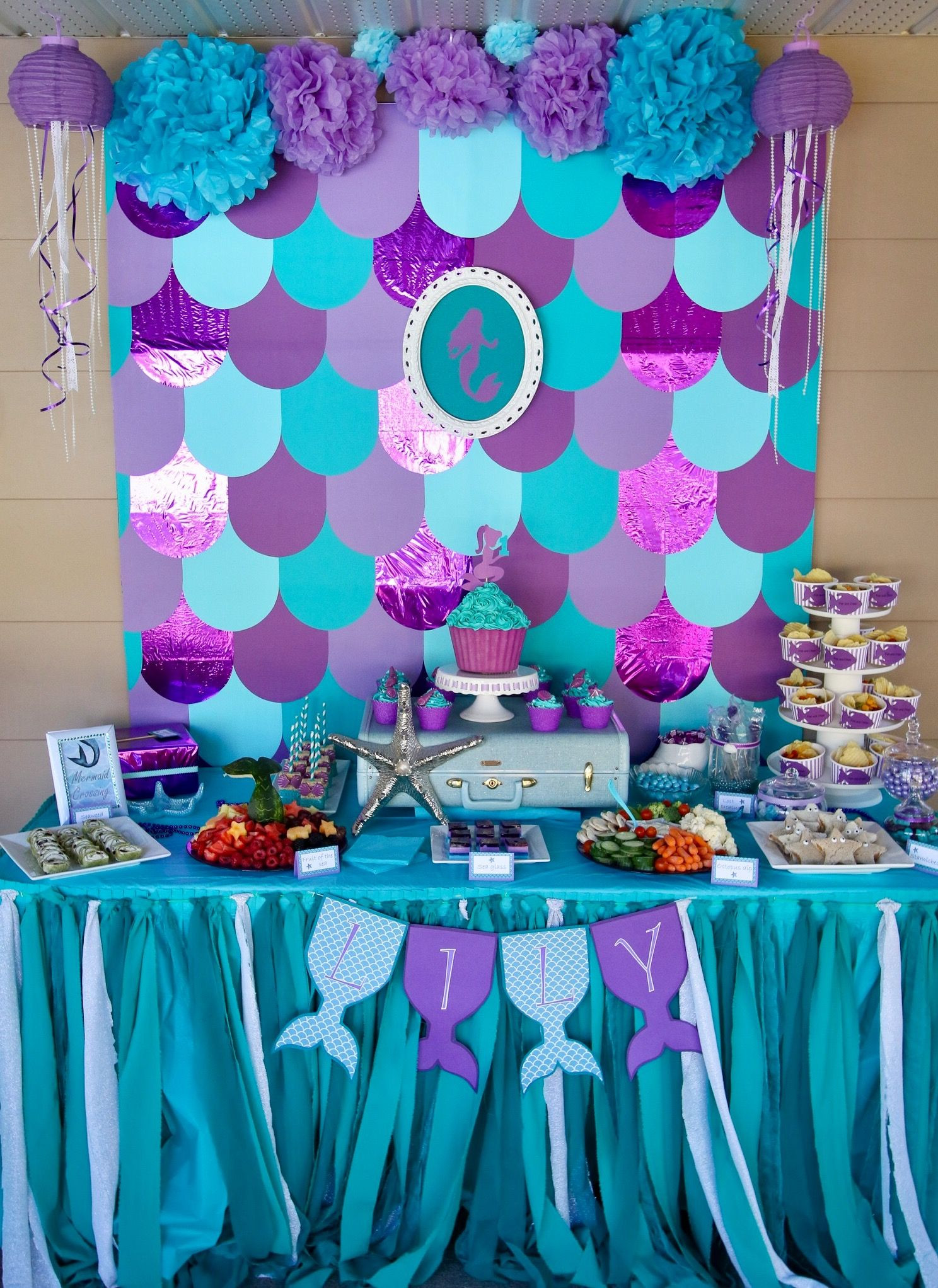 Mermaid Under The Sea Party Ideas  Mermaid party table decorations Under the sea birthday