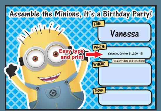 Minions Birthday Card Printable  FREE Printable Despicable Me Minion Birthday Invitation