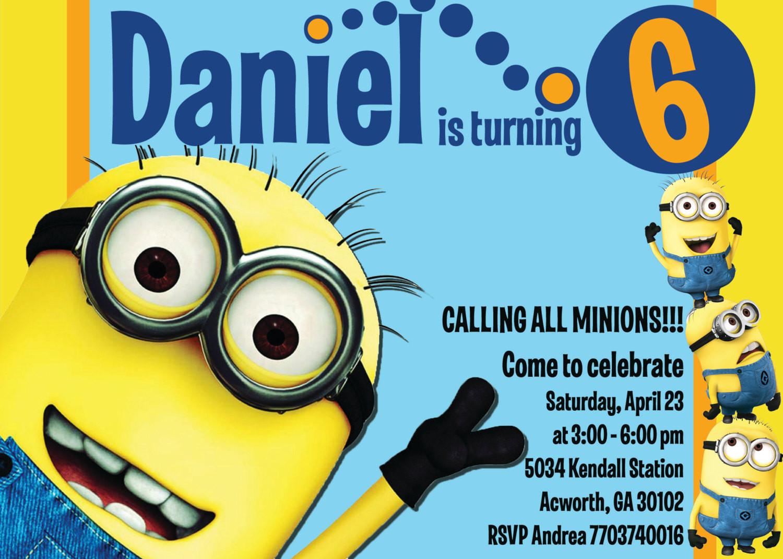 Minions Birthday Card Printable  Minion Invitations Templates