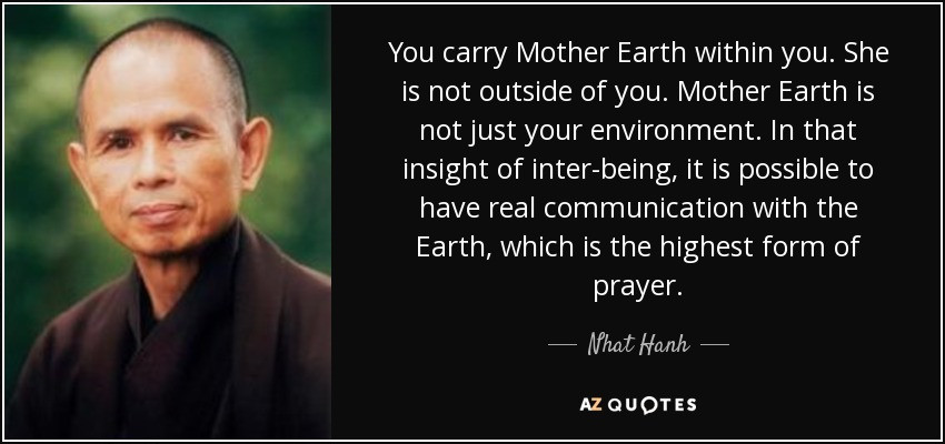Mother Earth Quotes  Nhat Hanh quote You carry Mother Earth within you She is