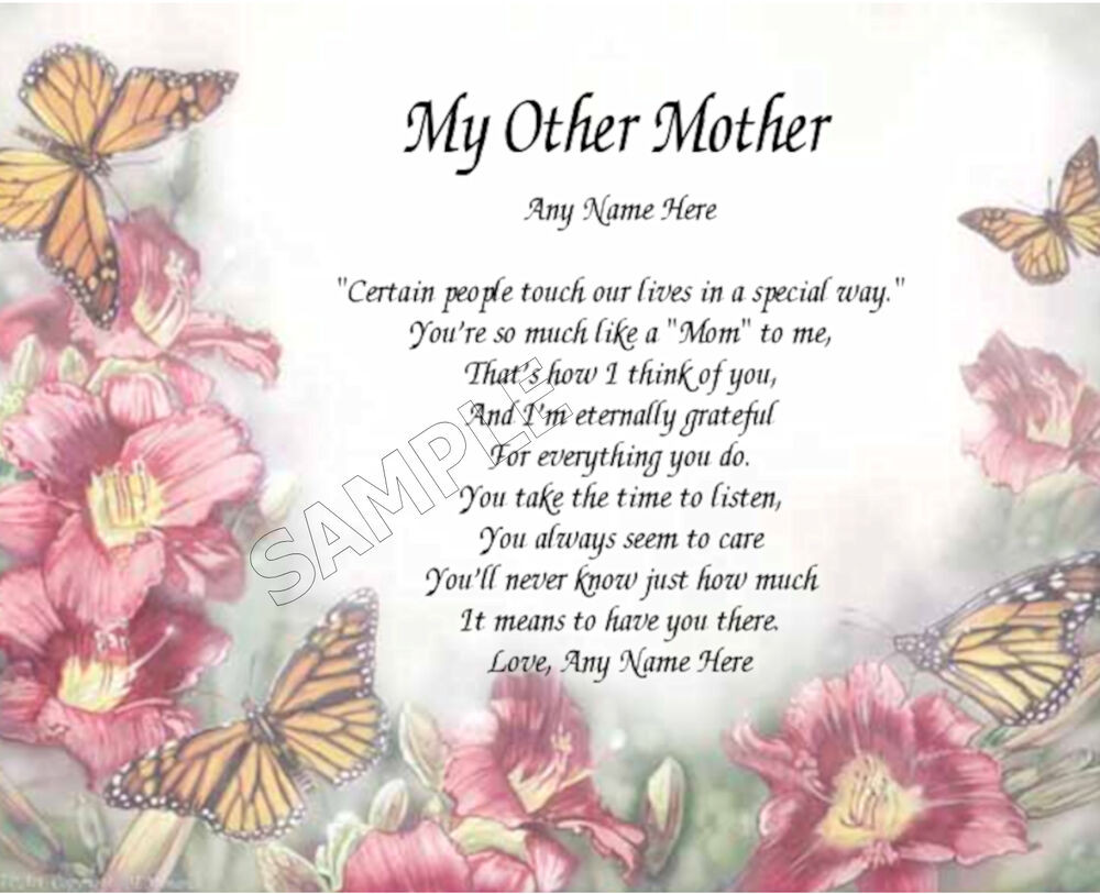 Mother'S Day Quotes  MY OTHER MOTHER PERSONALIZED ART POEM MEMORY BIRTHDAY