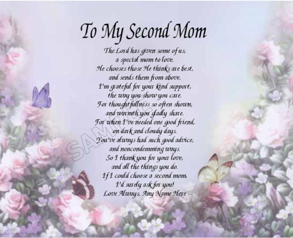 Mother'S Day Quotes  TO MY SECOND MOM PERSONALIZED ART POEM MEMORY BIRTHDAY