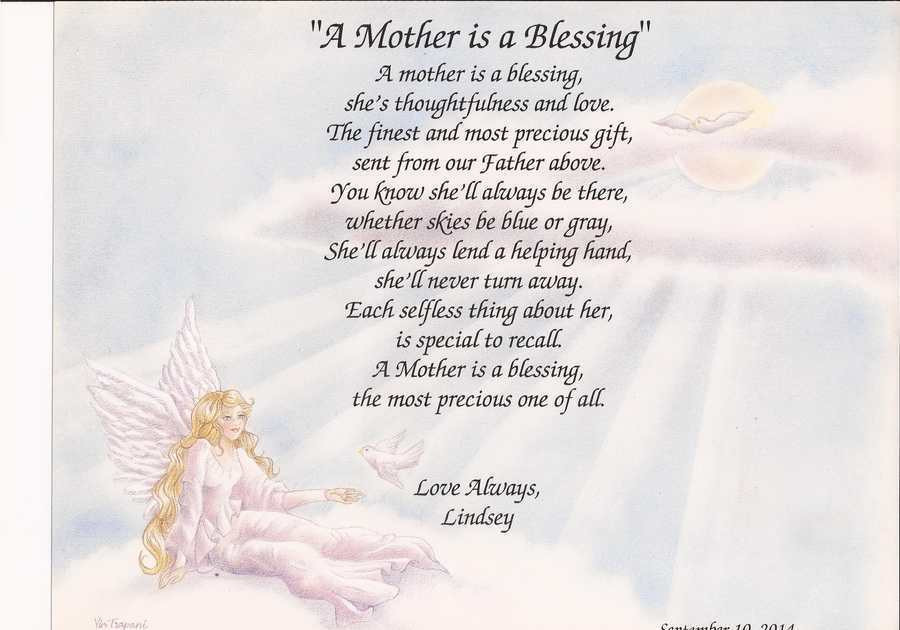 """Mother'S Day Quotes  Personalized Poem for Mom """"A Mother Is A Blessing"""" Mother"""