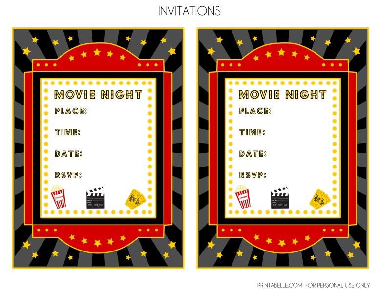 Movie Birthday Party Invitations Printable Free  FREE Movie Night Party Printables by Printabelle