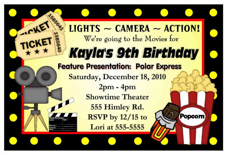 Movie Birthday Party Invitations Printable Free  MOVIE NIGHT BIRTHDAY PARTY INVITATIONS HOLLYWOOD