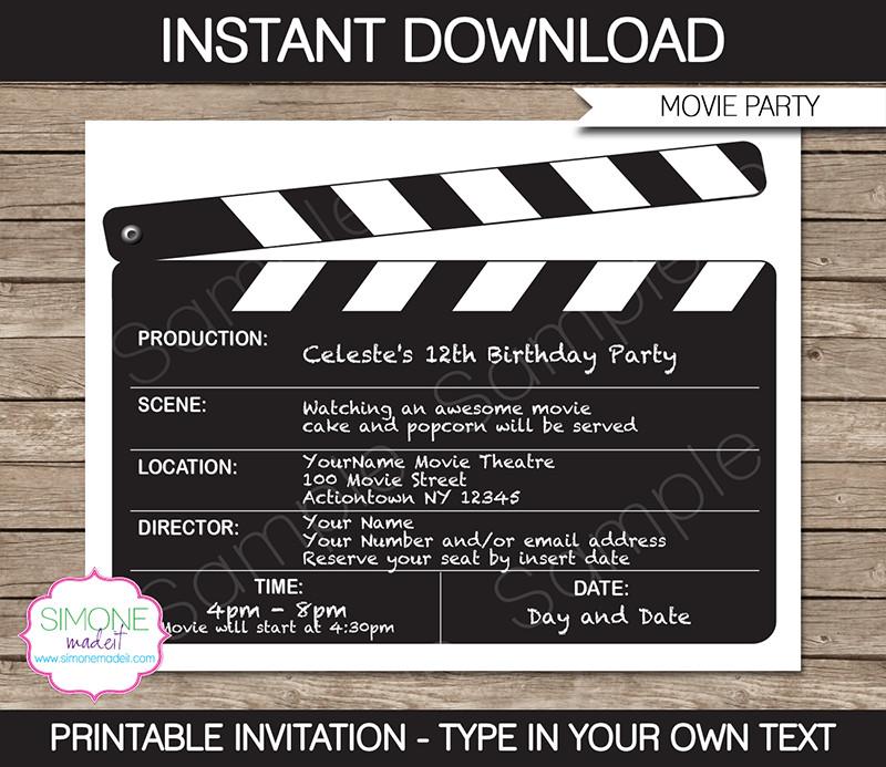 Movie Birthday Party Invitations Printable Free  Movie Night Party Invitations Template