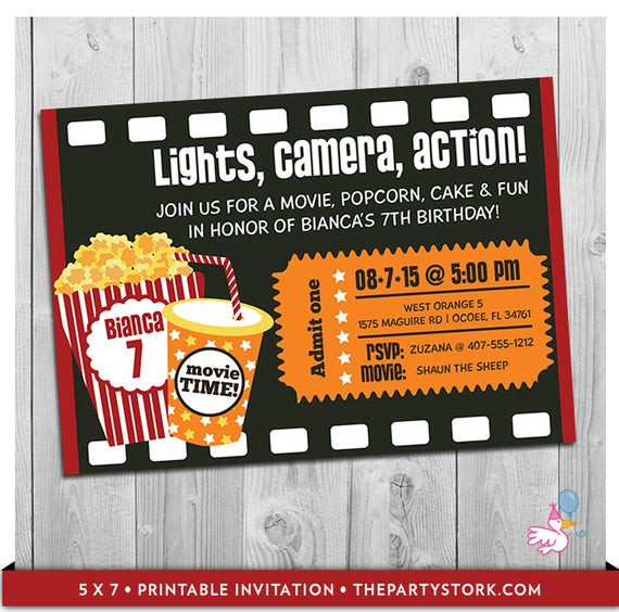 Movie Birthday Party Invitations Printable Free  Movie Party Invitation Printable Boys or Girls Movie Invite