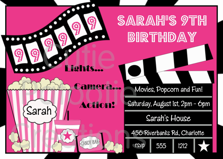 Movie Birthday Party Invitations Printable Free  FREE Printable Movie Night Birthday Party Invitations
