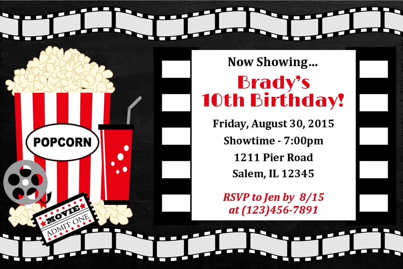 Movie Birthday Party Invitations Printable Free  Movie Night Invitation Movie night birthday movie