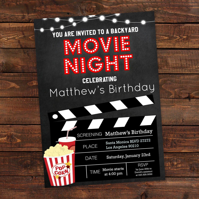 Movie Birthday Party Invitations Printable Free  Printable Backyard Movie Night Party Invitation Movie Night