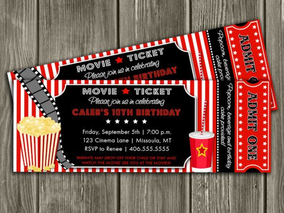Movie Birthday Party Invitations Printable Free  Printable Movie Ticket Birthday Invitation