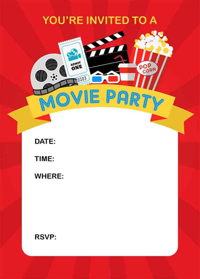 Movie Birthday Party Invitations Printable Free  How to Throw a Fun Backyard Movie Party