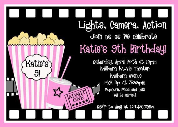 Movie Birthday Party Invitations Printable Free  Movie Birthday Invitations Movie Night by TheTrendyButterfly