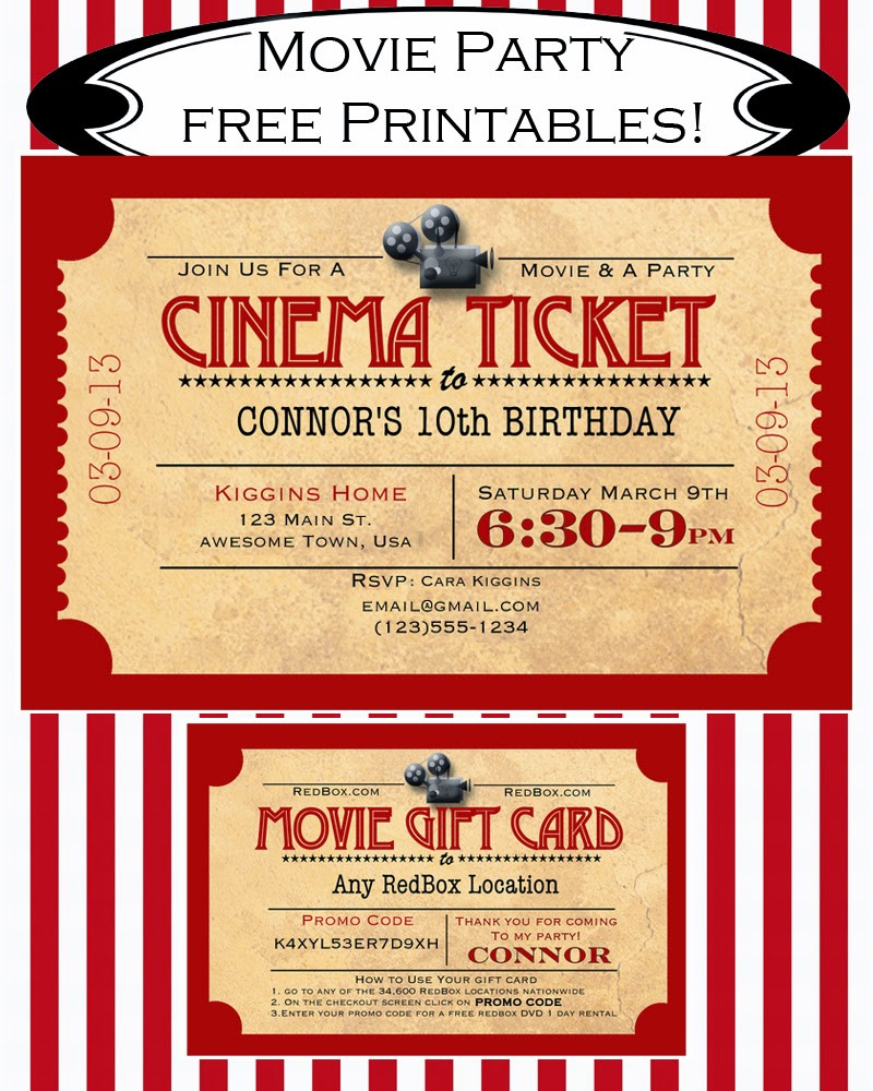 Movie Birthday Party Invitations Printable Free  Like Mom And Apple Pie A Summer Movies Free Printables