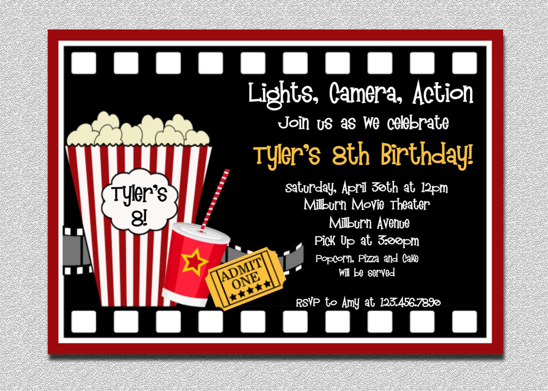 Movie Birthday Party Invitations Printable Free  Movie Birthday Invitation Movie Night Birthday Party