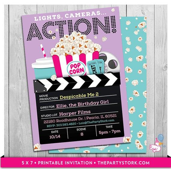 Movie Birthday Party Invitations Printable Free  Movie Party Invitations Printable Girls Movie Invite Movie