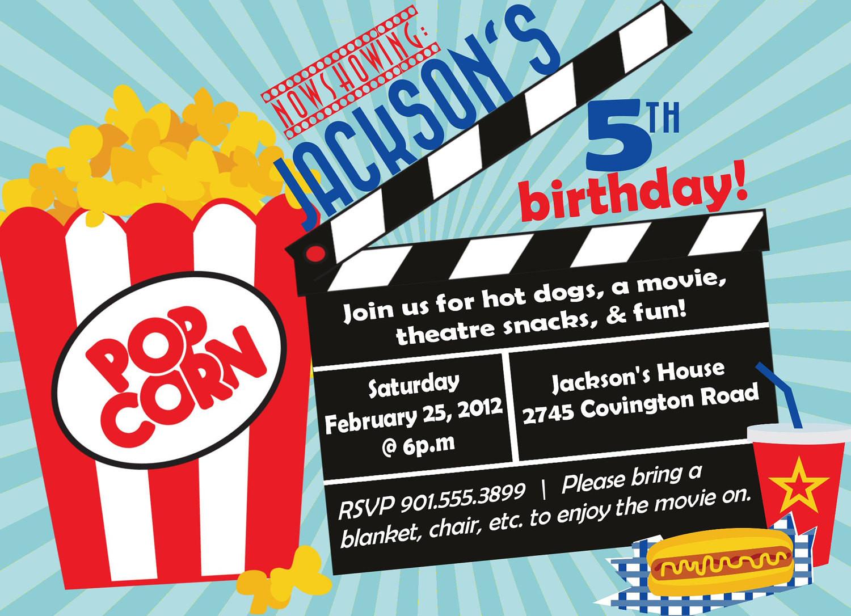 Movie Birthday Party Invitations Printable Free  Movie Birthday Party Invitation Boy Birthday Invitation