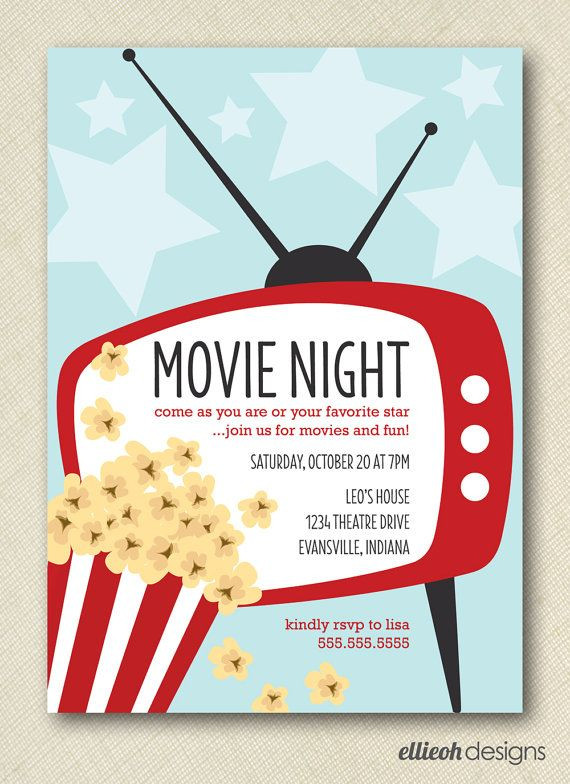 Movie Birthday Party Invitations Printable Free  movie night invite PRINTABLE digital file DIY en 2019