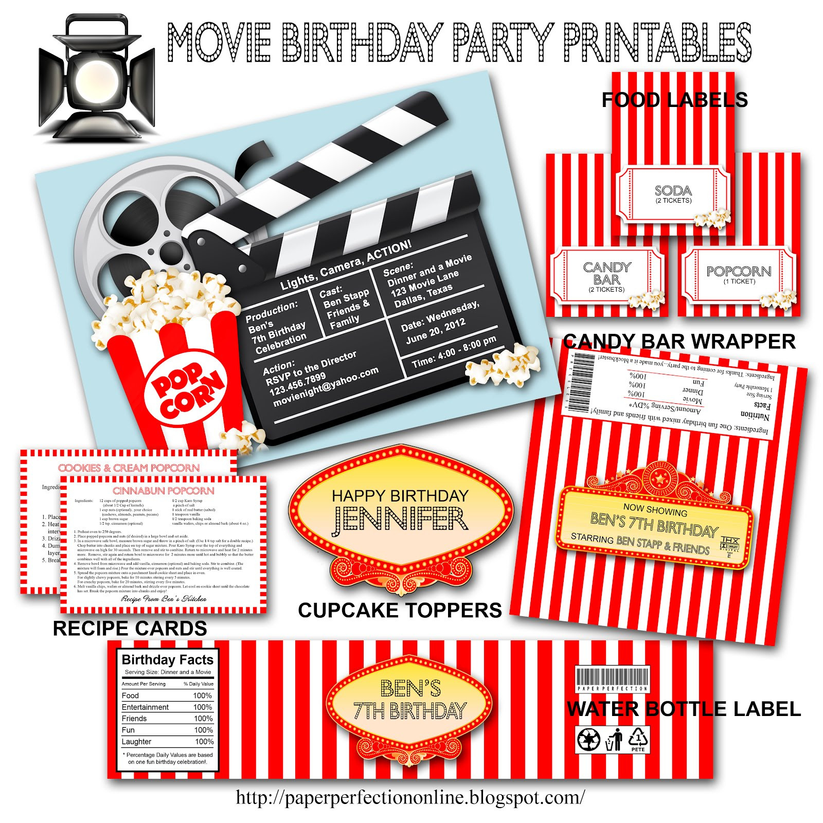 Movie Birthday Party Invitations Printable Free  Paper Perfection Movie Birthday Party Invitation and