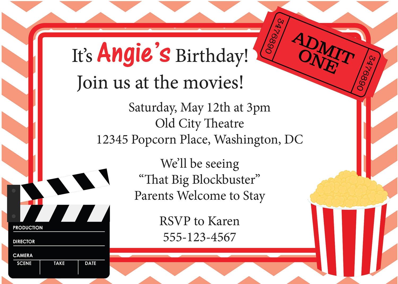 Movie Birthday Party Invitations Printable Free  Free Movie Ticket Invitation Template Free Excel Template