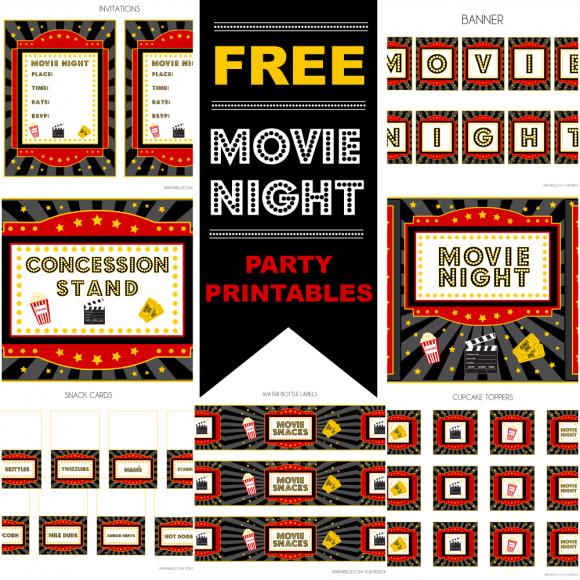 Movie Birthday Party Invitations Printable Free  Movie Night Party on Pinterest