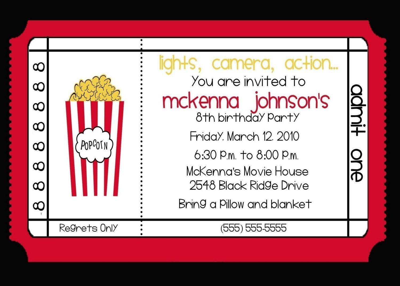 Movie Birthday Party Invitations Printable Free  Movie Theater Birthday Party Invitation by nattysuedesigns1
