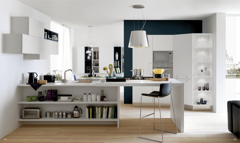 Open Kitchen Design  Open Modern Kitchens with Few Pops of Color
