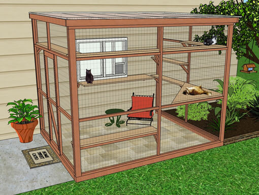 Outdoor Cat Enclosures DIY  DIY Catio Plan The Sanctuary™ Catio Plans with 6x8 and