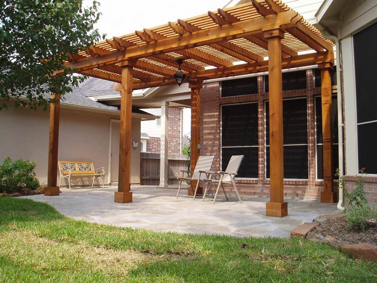 Patio Cover Plans DIY  Freestanding deck with roof patio design covers diy easy
