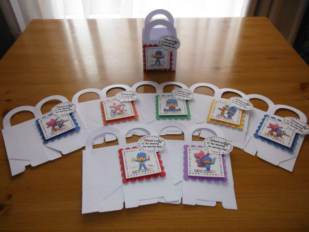 Personalized Birthday Decorations  8 POCOYO boxes birthday party favors goody bags