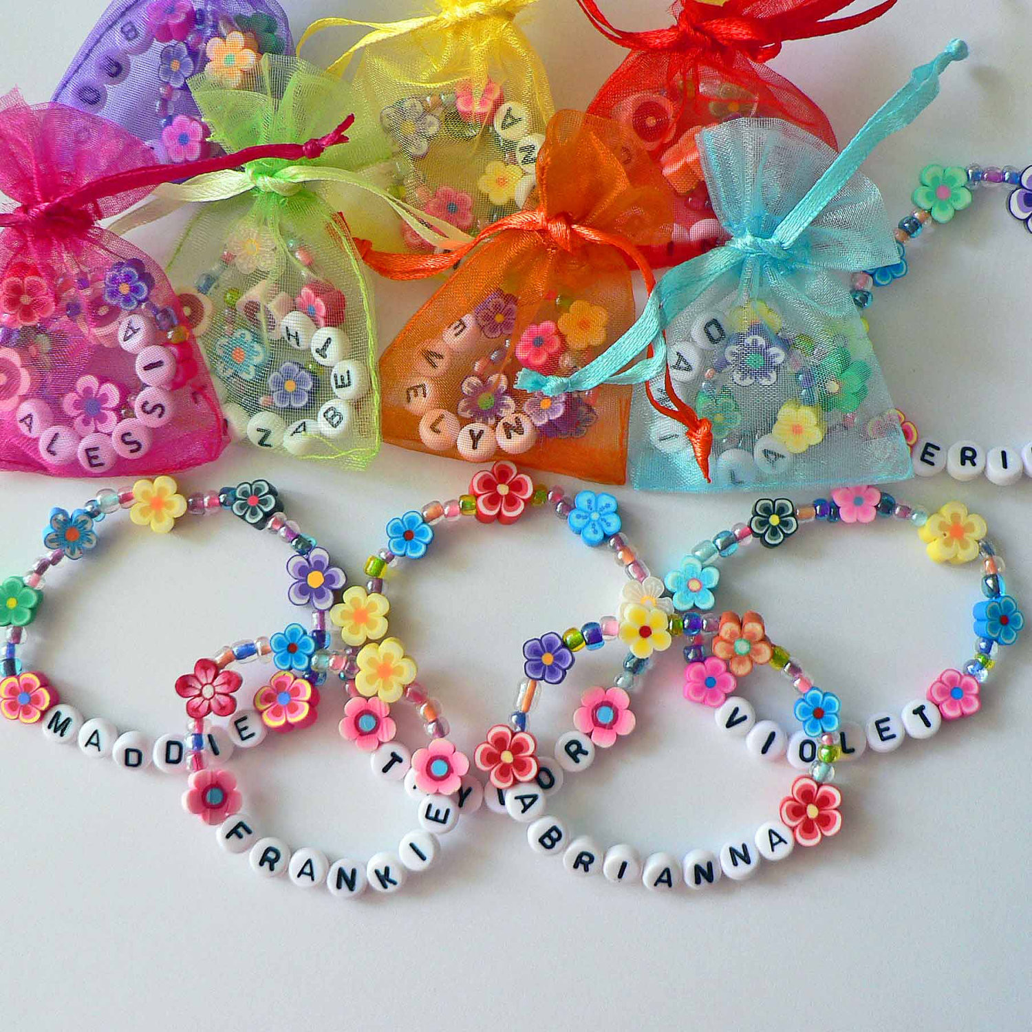 Personalized Birthday Decorations  Kids Personalized Luau Party Favors Flower Lei Bracelets
