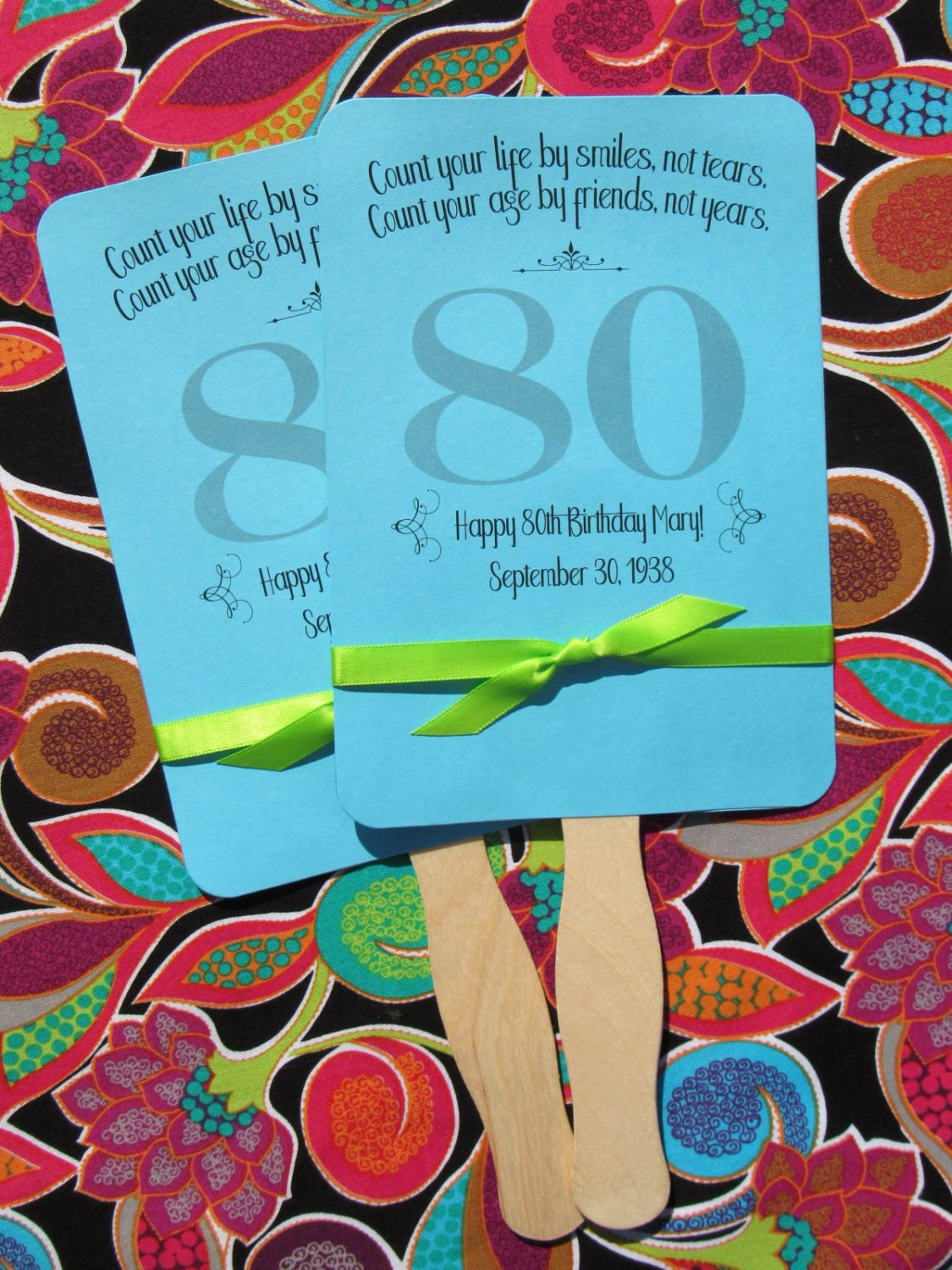 Personalized Birthday Decorations  Adult Birthday Favor 80th Birthday Personalized Fans