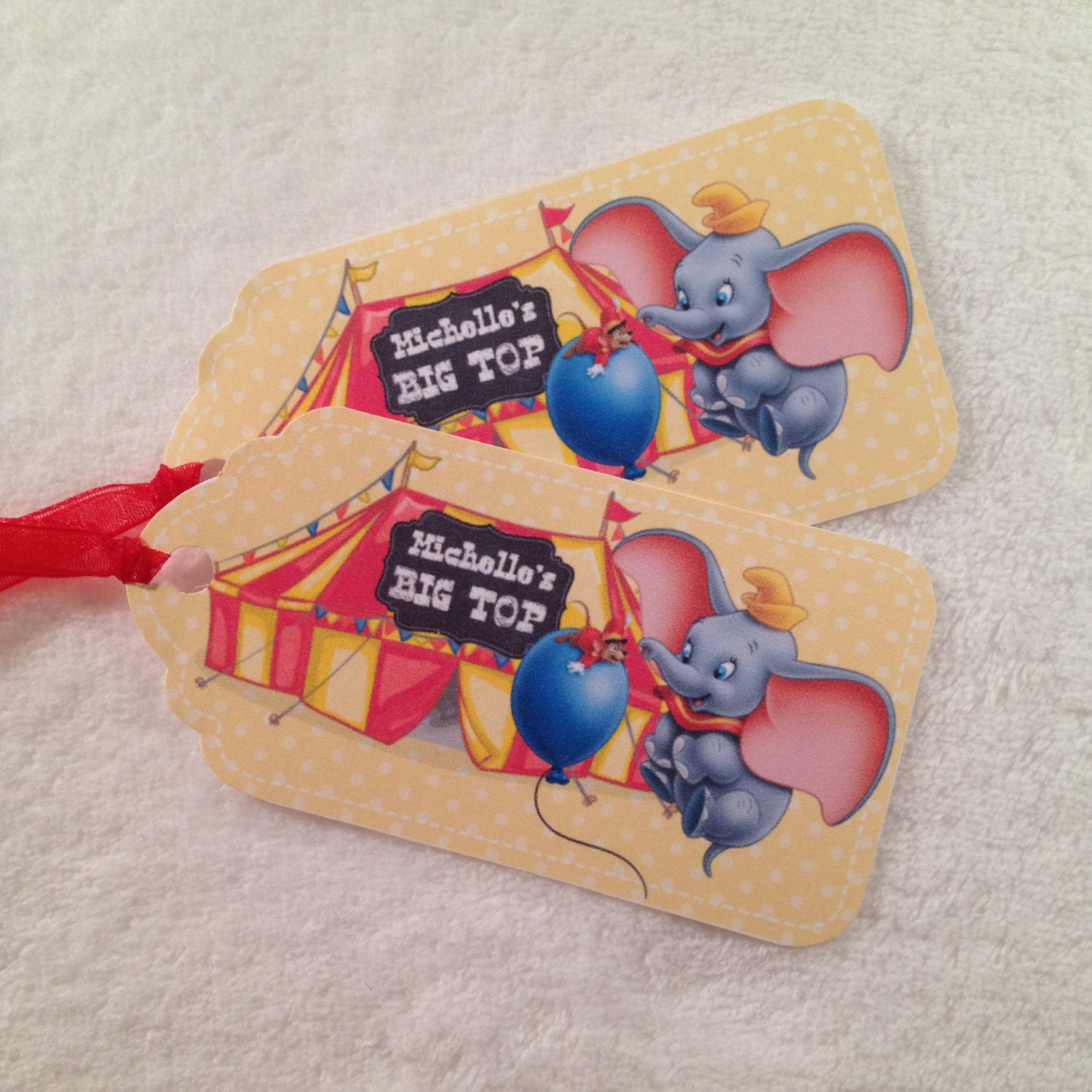 Personalized Birthday Decorations  10 Dumbo Personalized Party Favor Gift Tags Birthday Party