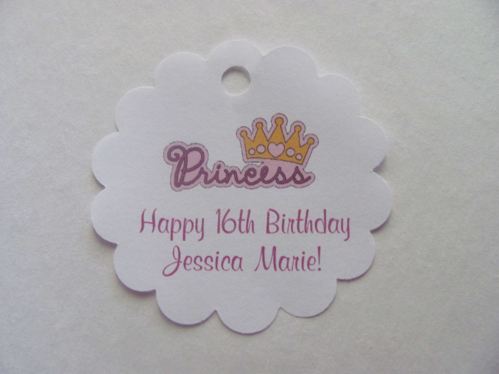 Personalized Birthday Decorations  24 Personalized Princess Crown Birthday Favor Scalloped