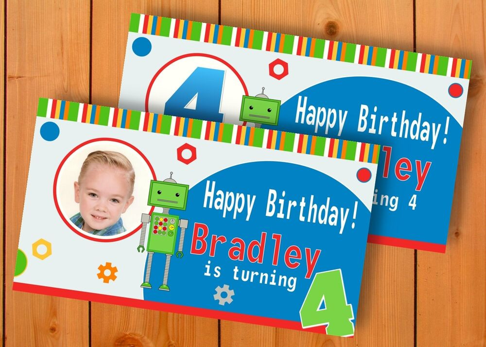 Personalized Birthday Decorations  Robot Birthday Banner Personalized Custom Design Indoor
