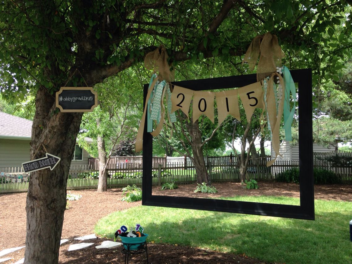 Photo Booth Ideas For Graduation Party  Homemade photo booth Old picture frame hung with burlap
