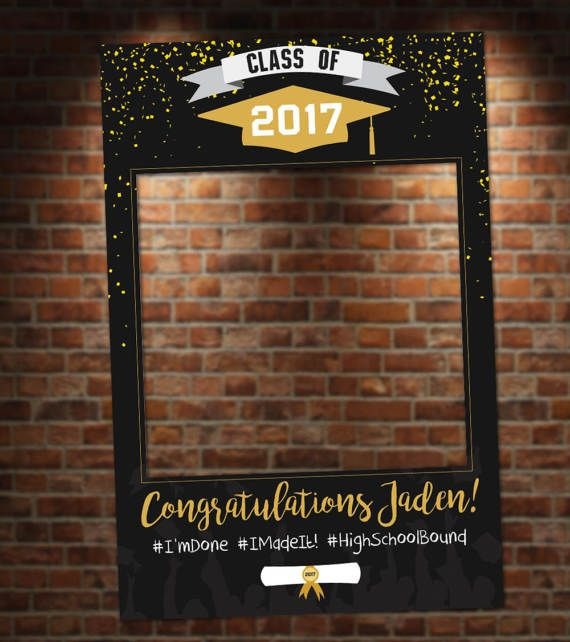 Photo Booth Ideas For Graduation Party  Black and Gold Graduation Booth Party Prop Frame