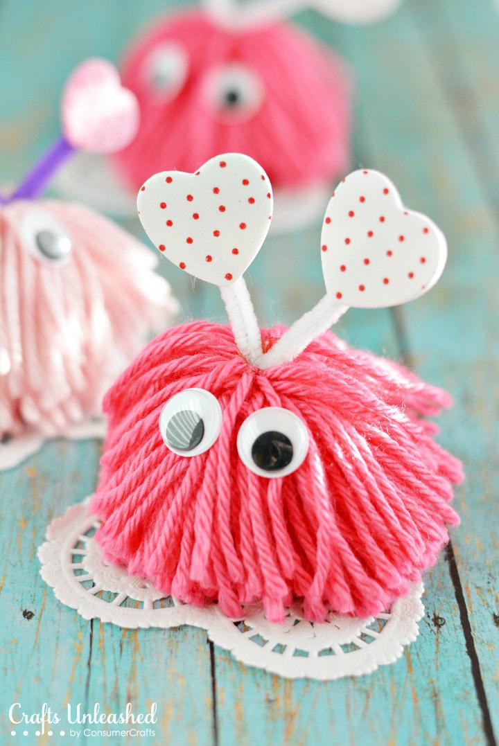 Pinterest Kids Crafts  Valentine Craft Pom Pom Monsters Tutorial