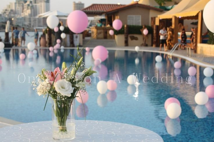 Pool Party Baby Shower Ideas  Pool Decoration in pink and white