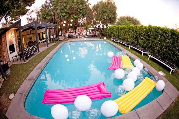 Pool Party Baby Shower Ideas  Palm Springs Pop Art Party Baby Shower Ideas Themes
