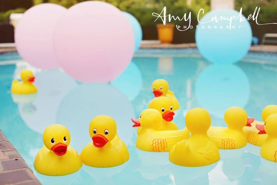 """Pool Party Baby Shower Ideas  Float giant 36"""" pink and blue balloons and yellow duckies"""