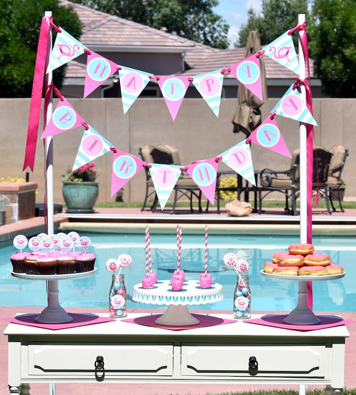 Pool Party Baby Shower Ideas  Kara s Party Ideas Pink Flamingo Pool Party