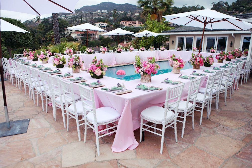 Pool Party Baby Shower Ideas  Beautiful baby shower surrounding the pool Love htis idea