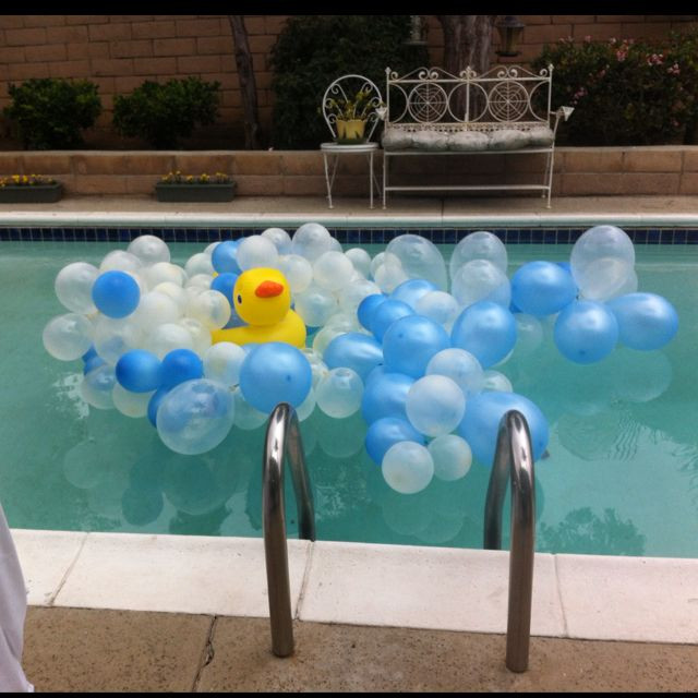 Pool Party Baby Shower Ideas  Rubber ducky Baby shower idea for the pool Tie balloons