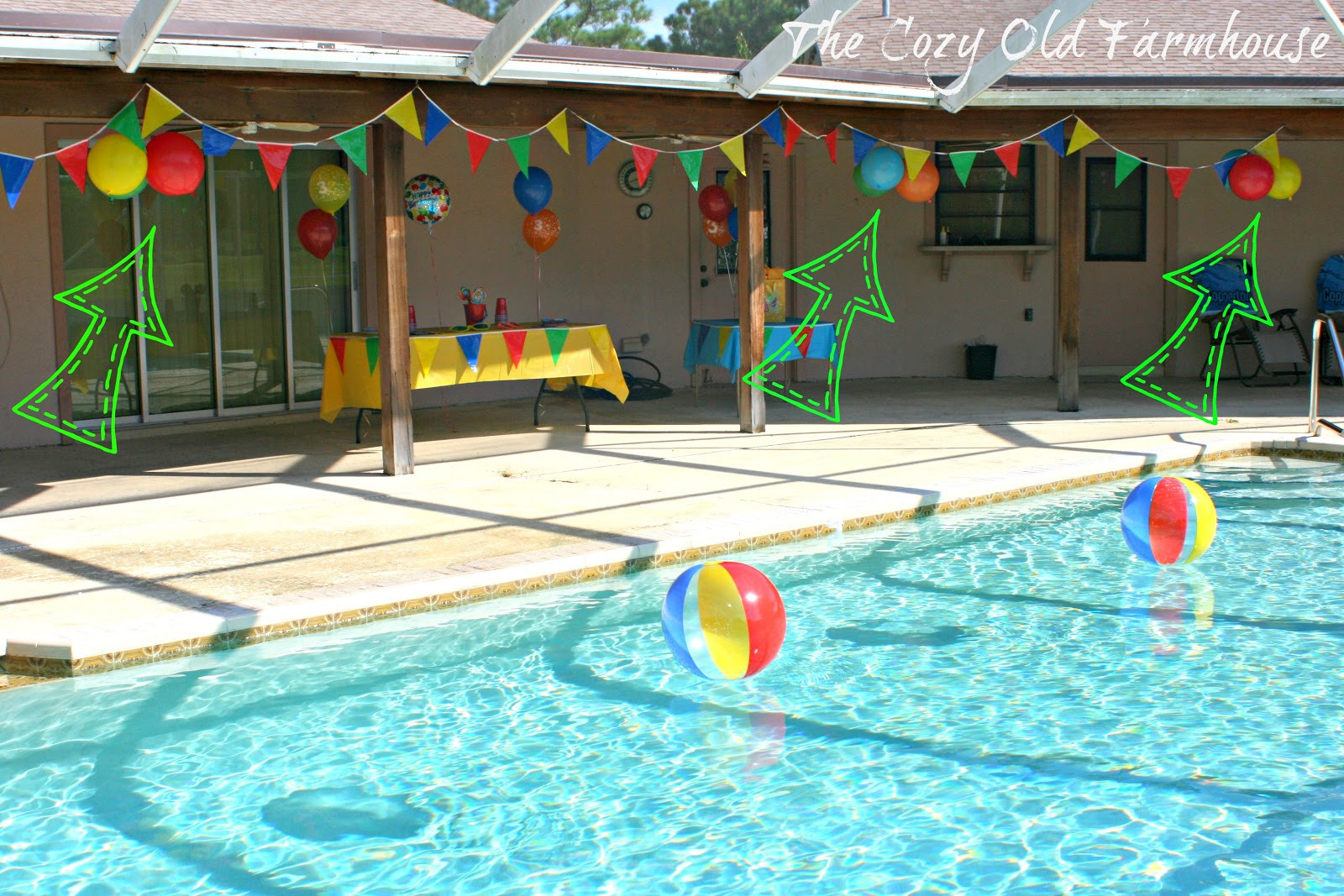 """Pool Party Decorations Ideas  The Cozy Old """"Farmhouse"""" Simple and Bud Friendly Pool"""