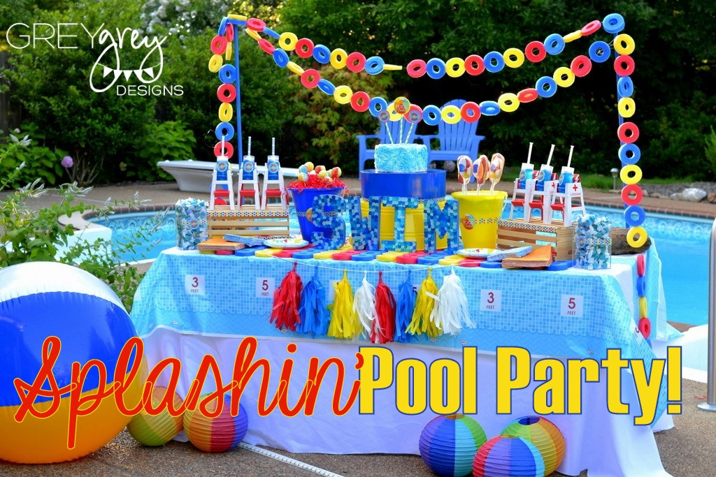 Pool Party Decorations Ideas  GreyGrey Designs My Parties Summer Pool Party by