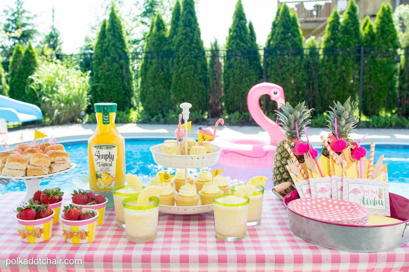Pool Party Decorations Ideas  Summer Backyard Flamingo Pool Party Ideas The Polka Dot