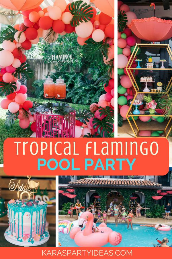 Pool Party Decorations Ideas  Kara s Party Ideas Tropical Flamingo Pool Party