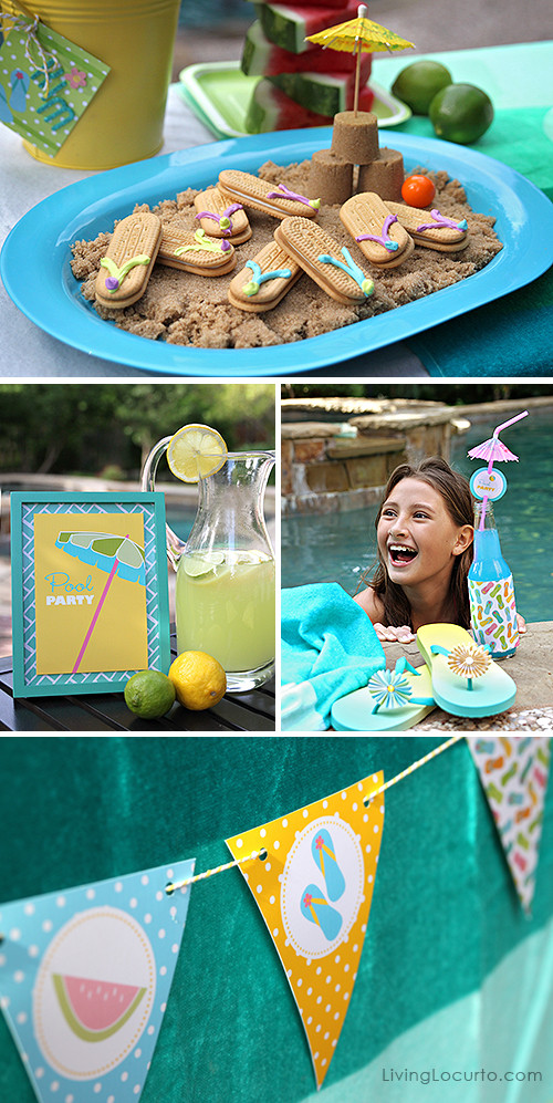 Pool Party Decorations Ideas  Free Printable Pool Party Tags Summer Party Ideas