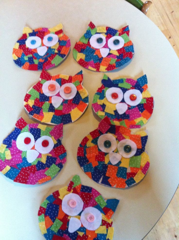 Preschool Arts And Crafts Ideas  Cardboard owl cutout Small fabric squares glued on to